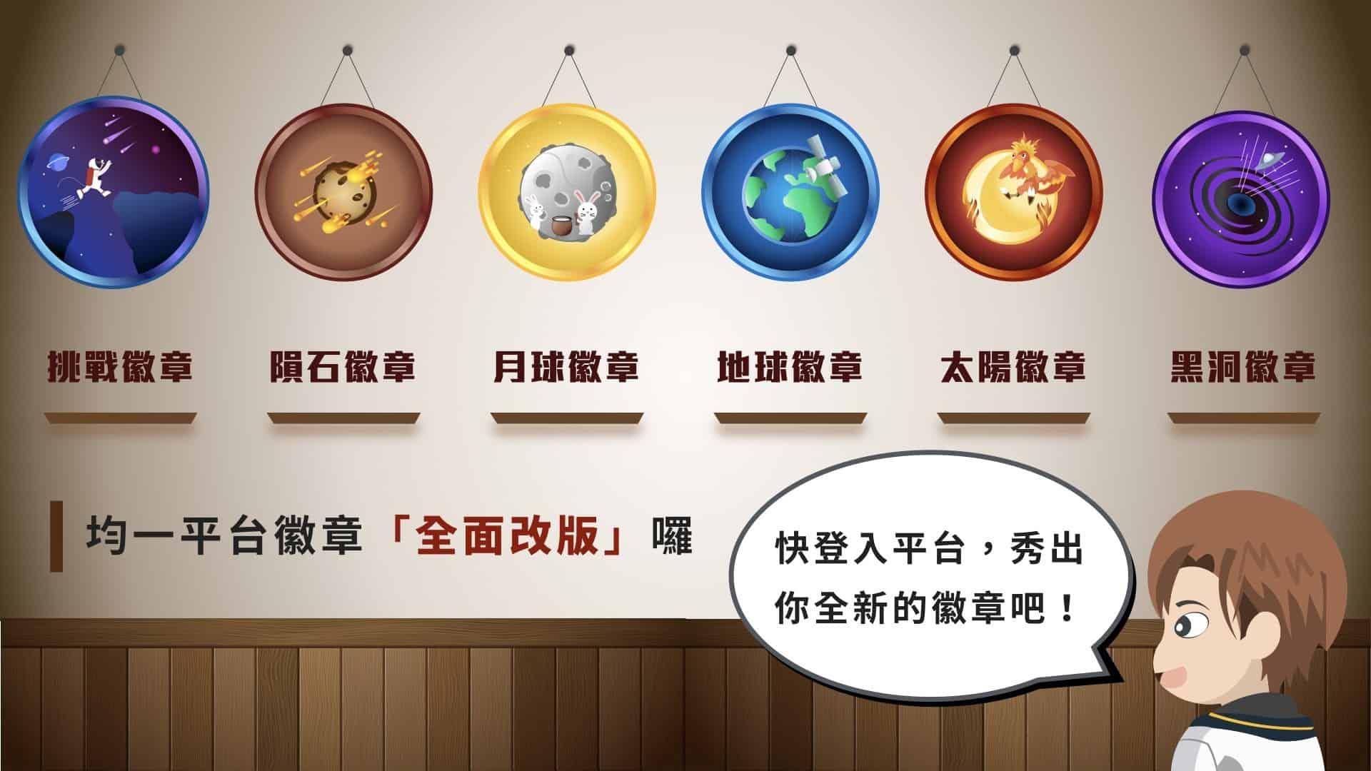 圖為均一教育平台的六款徽章。